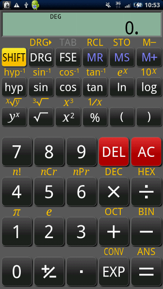 RealCalc Scientific Calculator 起動画面