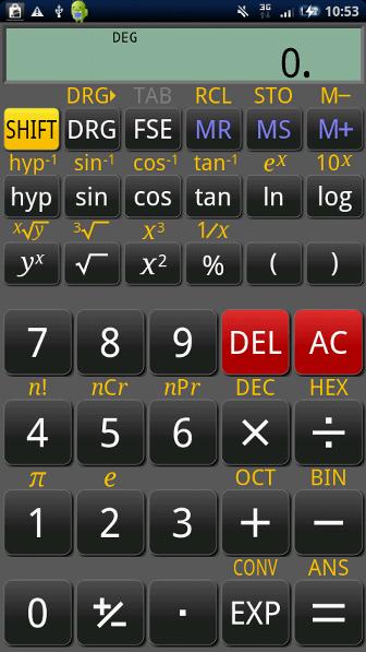 RealCalc Scientific Calculator 起動画面