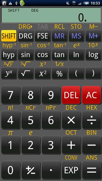 RealCalc Scientific Calculator SHIFT有効状態