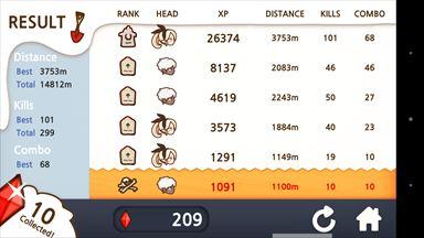 ファンタジーxランナーズ (FANTASYxRUNNERS) ゲーム結果画面