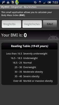 健康系Android無料アプリケーション:BMIの計算機