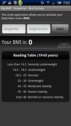 BMIの計算機 起動画面