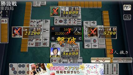 麻雀 雷神 -Rising- ゲーム終了画面