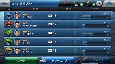【ウイイレ】PES CLUB MANAGER ユース画面