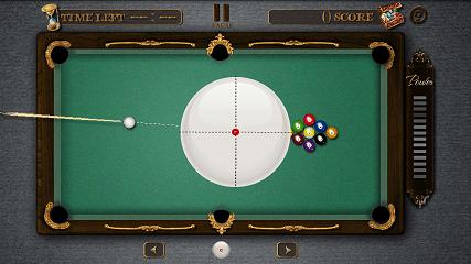 Pool Master Pro ビリヤード 白球調整画面