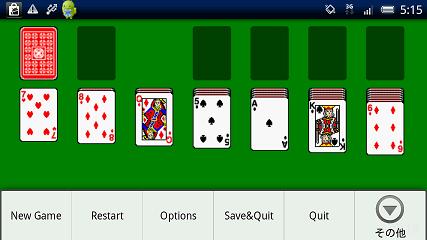 カード・トランプ系Android無料ゲーム:Solitaire(ソリティア)