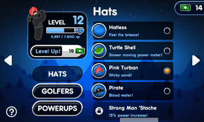 Super Stickman Golf 2 プレイヤー情報画面