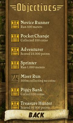 Temple Run OBJECTIVES画面