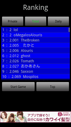 Touch the Numbers for Android Totalランキング画面