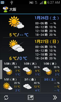 WeatherNow 天気予報画面