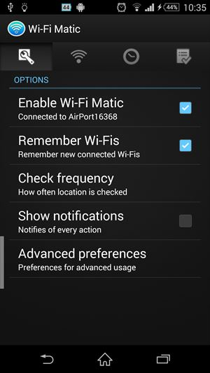 Wi-Fi Matic - Auto WiFi On Off 設定画面